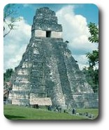 Temple in Grand Plaza, Tikal, Guatemala