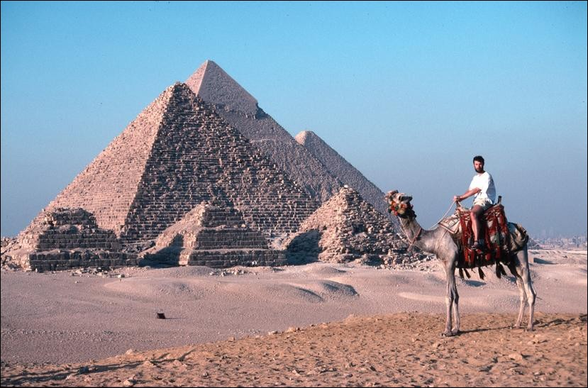 Me riding a camel at the Gaza pyramids, Cairo, Egypt