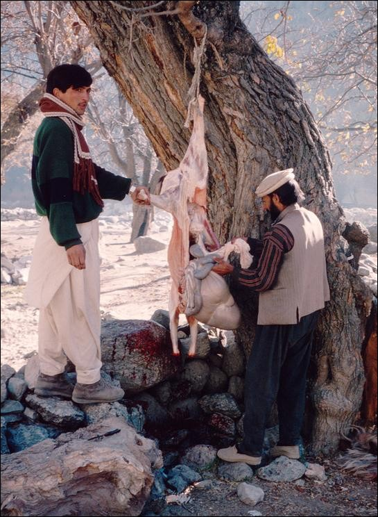 Local butcher at work, Kalash Kalley, Pakistan