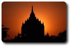 Thathyinnyu Temple silhouetted at sunset, Bagan, Myanmar