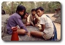 Children playing a game at the Thommanon, Angkor, Cambodia