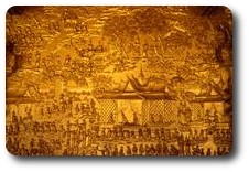 Gold relief panel on Wat Mai Suwannaphumaham, Luang Phabang, Laos