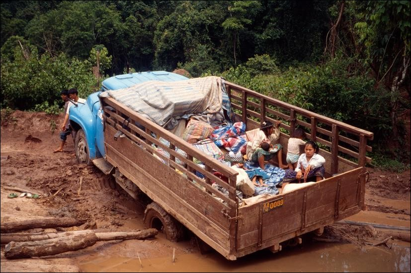 Truck stuck in mud on road from Nam Tha to Huai Xai, Laos