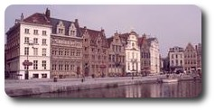 Old buildings around the Korenlei, Ghent, Belgium