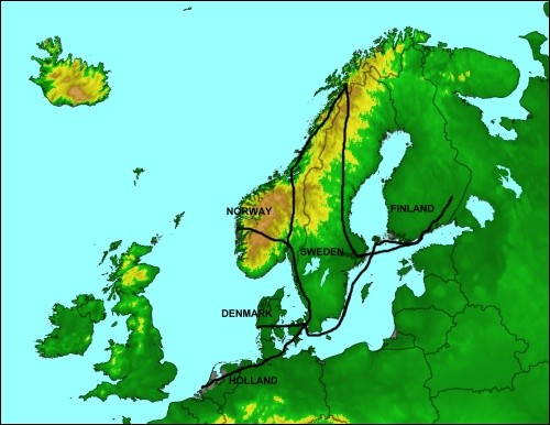Map of Scandinavia trip