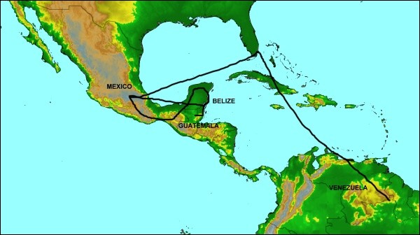 Map of Central America trip