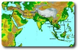 Map of Asia trip