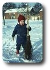 Me playing in the snow at Werstan Close, Malvern, England
