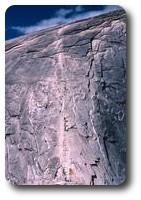 Rope ladder up Half Dome, Yosemite, California, USA
